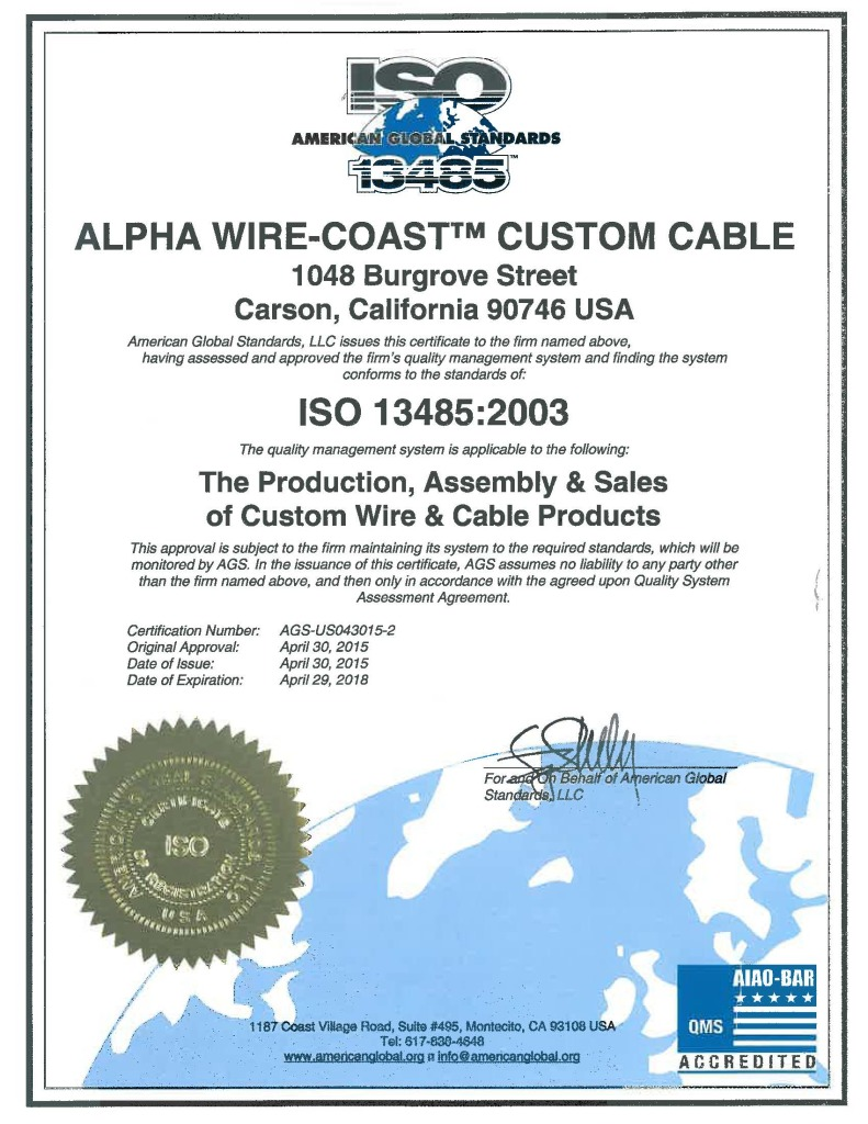Alpha Wire Gains Iso 13485 Certification For Its Plant In Carson Ca