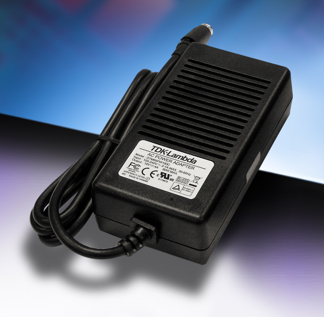 40 to 65W Medical External Power Supplies are Compliant to DoE Level VI and EU Tier 2 v5 Efficiency Standards