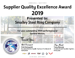 Smalley Wins GM Supplier Quality Excellence Award for 8th Consecutive Year
