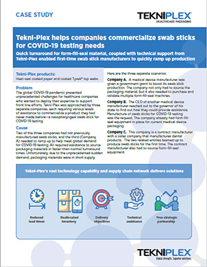 Case Study: Tekni-Plex Helps Companies Commercialize Swab Sticks for COVID-19 Testing Needs