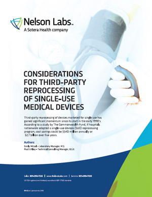 Considerations for Third-Party Reprocessing of Single-Use Medical Devices