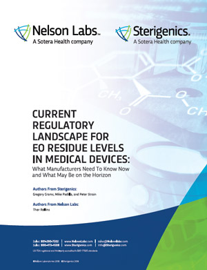 Current Regulatory Landscape for EO Residue Levels in Medical Devices: What Manufacturers Need To Know Now and What May Be on the Horizon